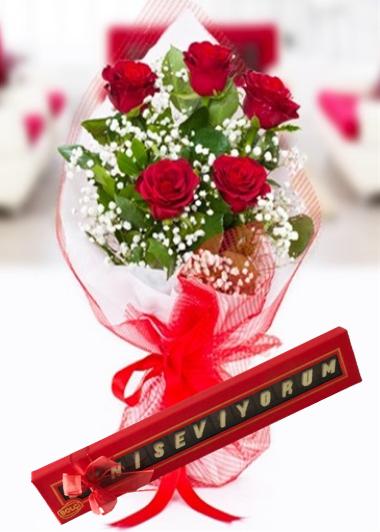Çikolata ve 5 Gül Gaziantep Çiçekciler