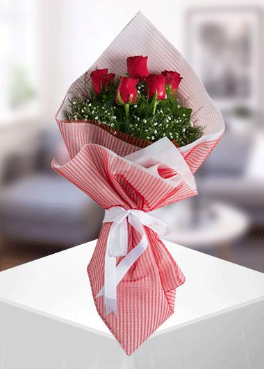 Gaziantep Çİçek 5 Gül Buketi Gaziantep Çiçek Sepeti Siparişi