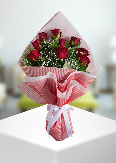 Gaziantep Çiçek Siparişi 9 Gül Buketi Gaziantep Çiçekciler