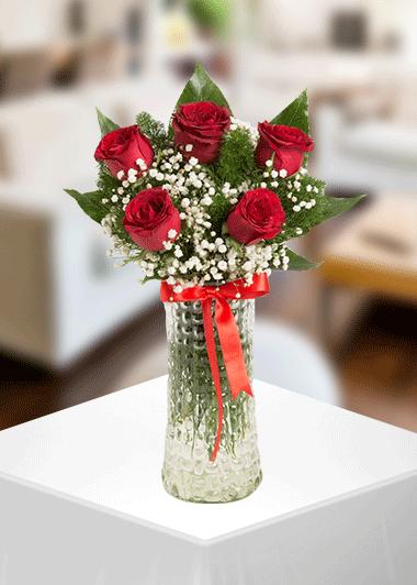 Gaziantep Çiçek Vazo 5 Gül Gaziantep Çiçekciler