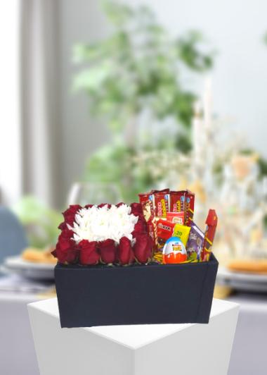 Gül Papatya ve Çikolata Kutusu