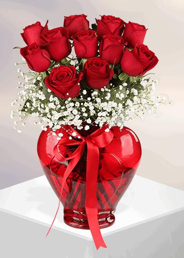 Kırmızı Gül ve Sonsuz Aşk-33 Gaziantep Çiçek Sepeti Siparişi