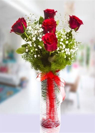 Vazo içinde 5 Gül-5 Gaziantep Çiçekciler